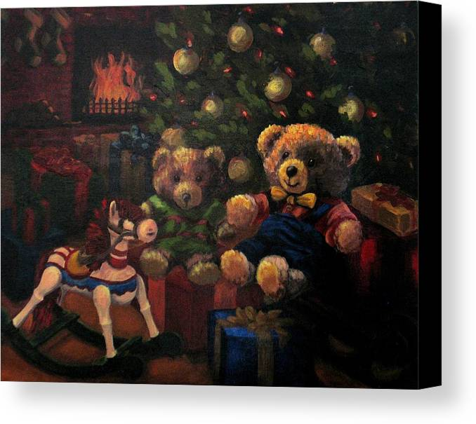 Christmas Canvas Print featuring the painting Christmas Past by Karen Ilari
