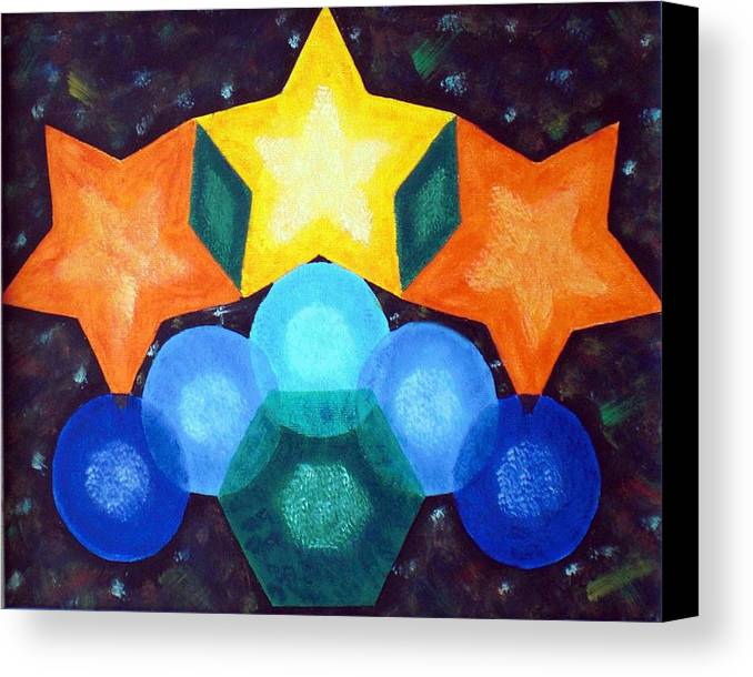 Shapes Canvas Print featuring the painting Circles And Stars by Nancy Sisco