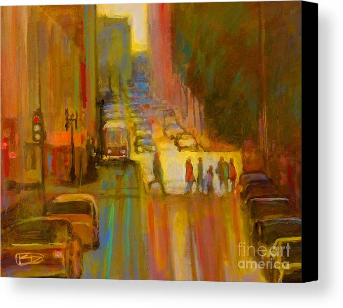 City Canvas Print featuring the painting City Crosswalk by Kip Decker