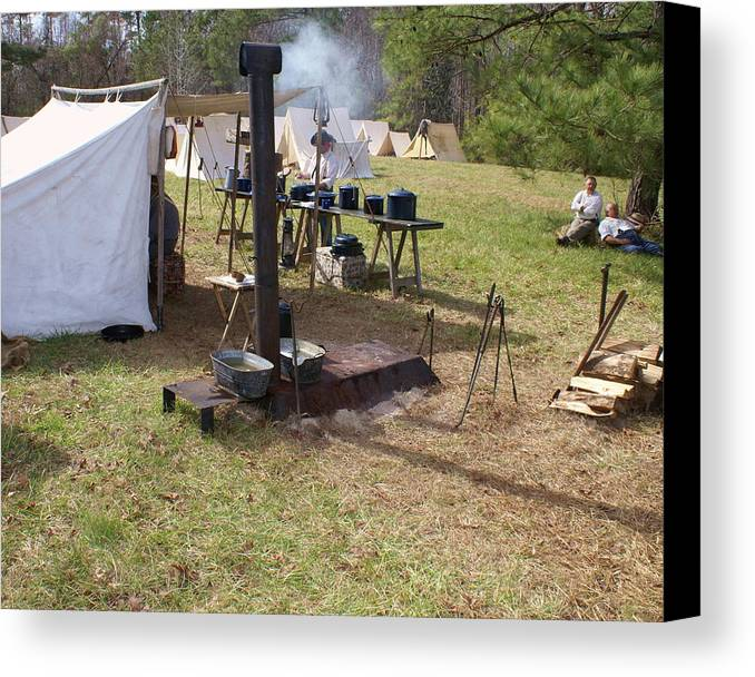 Civil War Canvas Print featuring the photograph Civil War Camp Stove And Mess by Rodger Whitney