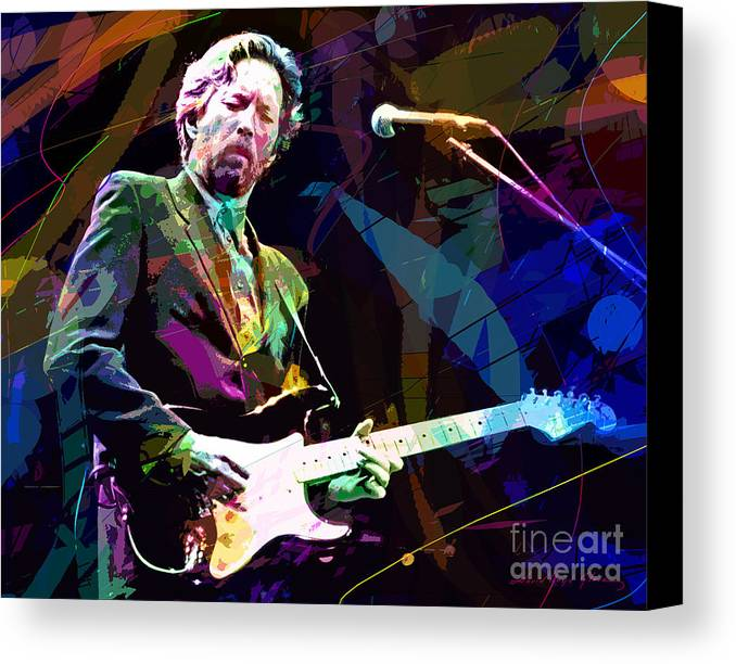 Eric Clapton Canvas Print featuring the painting Clapton Live by David Lloyd Glover