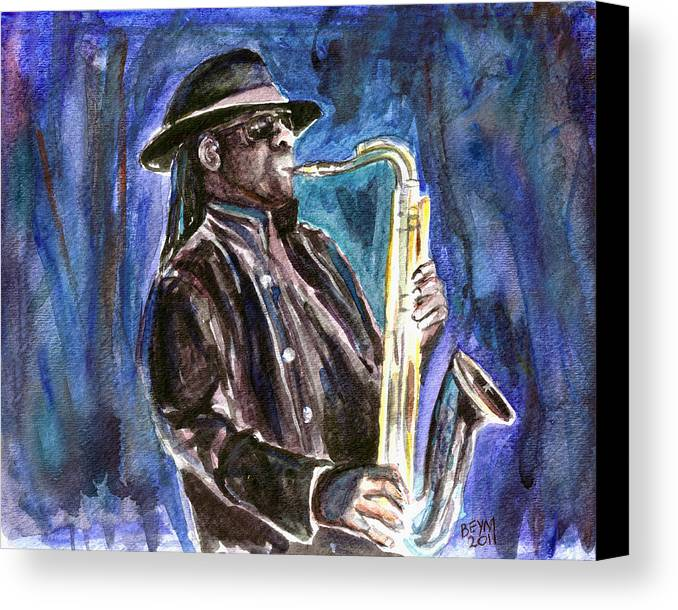 Clarence Clemons Canvas Print featuring the painting Clarence Clemons by Clara Sue Beym