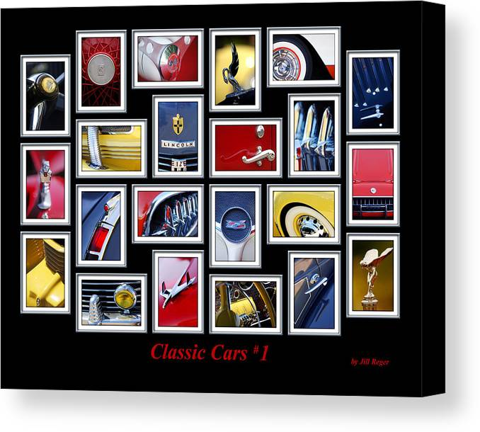 Classic Cars Canvas Print featuring the photograph Classic Car Montage Art 1 by Jill Reger
