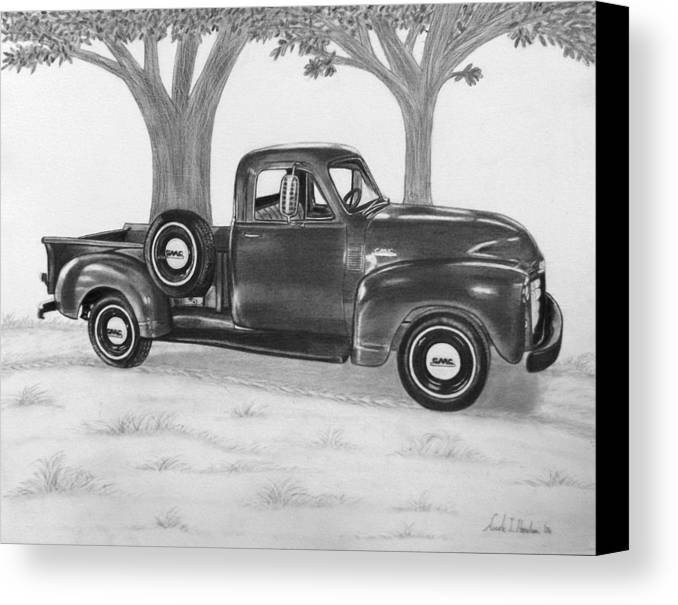 Truck Canvas Print featuring the drawing Classic Gmc Truck by Nicole I Hamilton