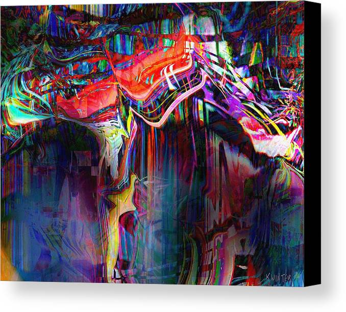 Abstract Canvas Print featuring the digital art Cliff by Dave Kwinter