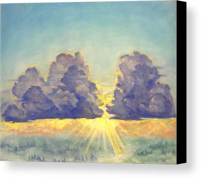 Clouds Canvas Print featuring the painting Cloudscape by Julianna Ziegler