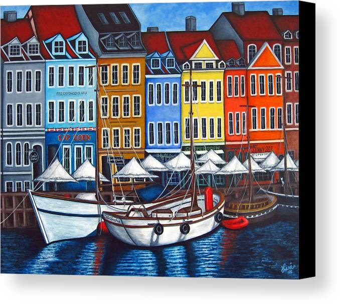 Nyhavn Canvas Print featuring the painting Colours Of Nyhavn by Lisa Lorenz