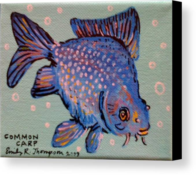 Fish Whimsical Animal Tropical Carp Goldfish Canvas Print featuring the painting Common Carp by Emily Reynolds Thompson
