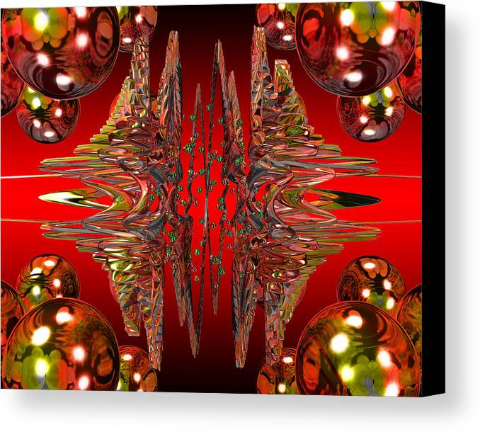 Abstract Art Canvas Print featuring the digital art Containment Field-red by Mark W Ballard