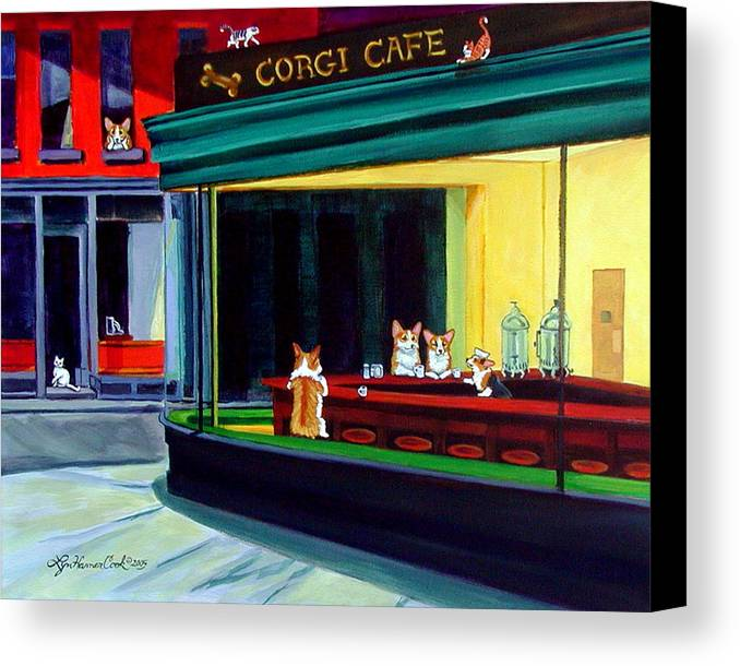 Pembroke Welsh Corgi Canvas Print featuring the painting Corgi Cafe After Hopper by Lyn Cook