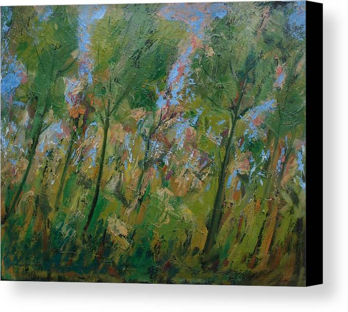 Trees Canvas Print featuring the painting Country Landscape by Mario Zampedroni