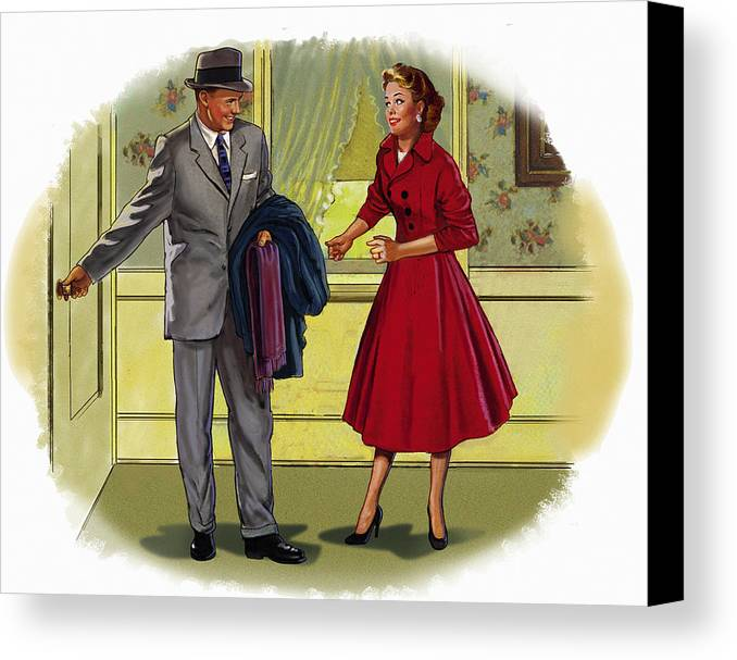 Retro Canvas Print featuring the mixed media Couple by Lash Larue
