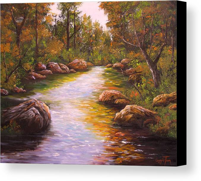 Connie Tom Canvas Print featuring the painting Creek Retreat Vii by Connie Tom