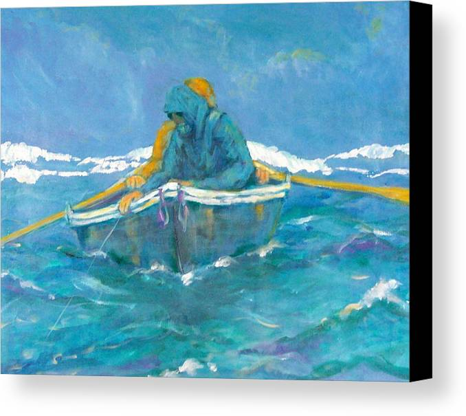 Fishermen Canvas Print featuring the painting Crossing Over by Ruth Mabee