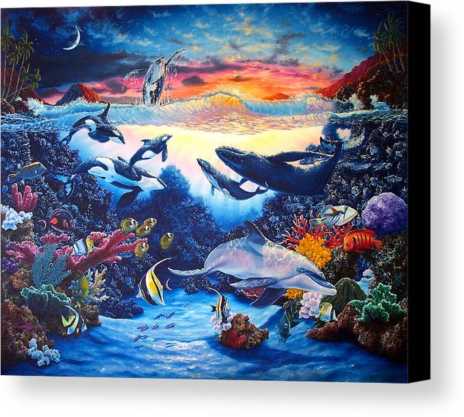Whale Canvas Print featuring the painting Crystal Shore by Daniel Bergren