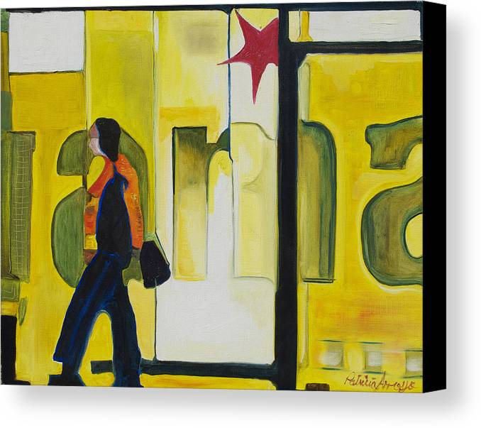 Abstract Canvas Print featuring the painting Dam Shopper by Patricia Arroyo