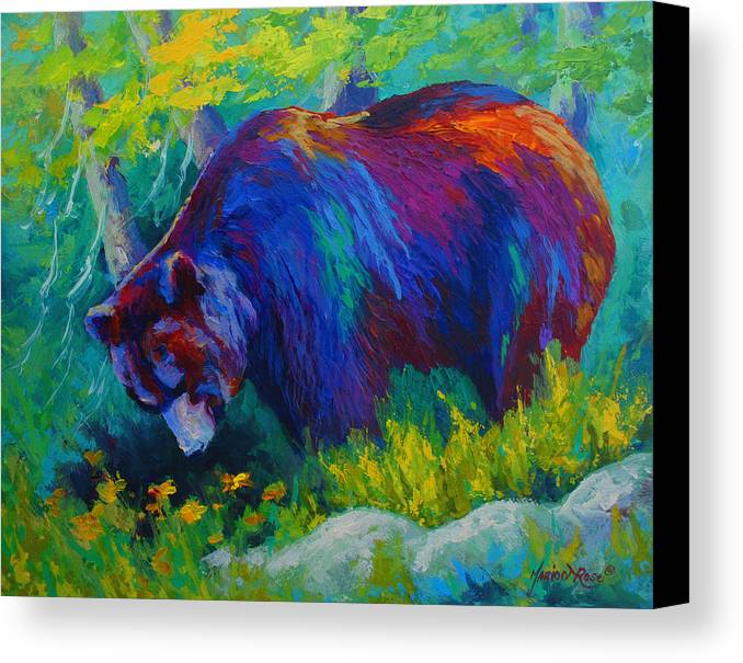 Western Canvas Print featuring the painting Dandelions For Dinner - Black Bear by Marion Rose