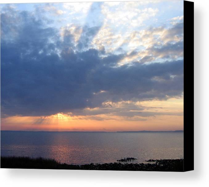 Sunrise-sunset Photography Canvas Print featuring the photograph Dawn Sun Rays by Frederic Kohli
