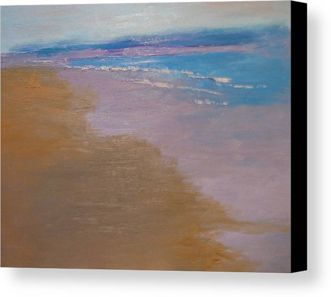 Sea Scape Canvas Print featuring the painting sold December Sea Shore in California by Irena Jablonski