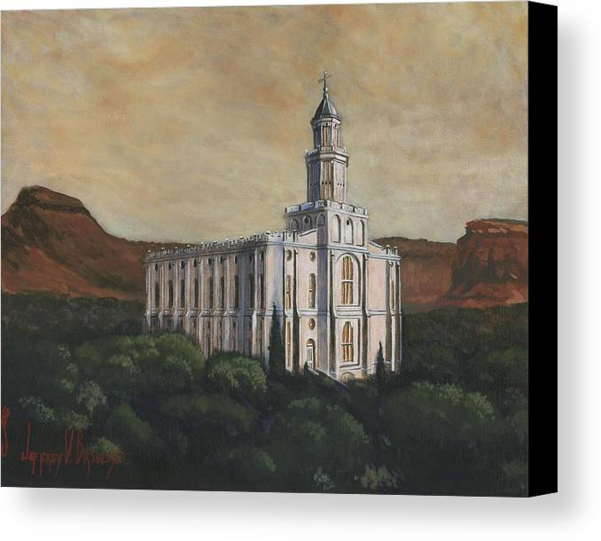 Lds Canvas Print featuring the painting Desert Oasis by Jeff Brimley