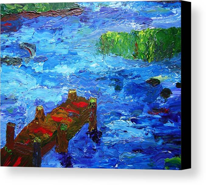 Marsh Canvas Print featuring the painting Dock On The Marsh by Karen L Christophersen