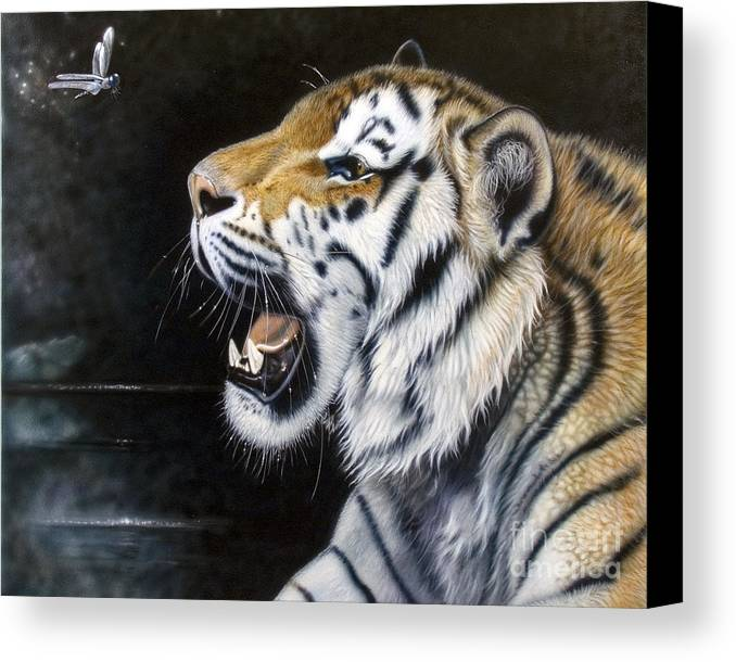 Tiger Canvas Print featuring the painting Dragonfly by Sandi Baker