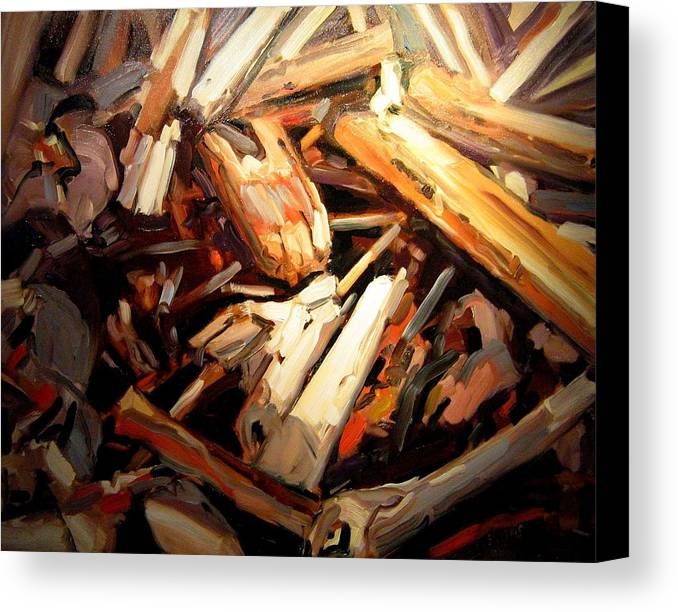 Beach Paintings Canvas Print featuring the painting Driftwood by Brian Simons