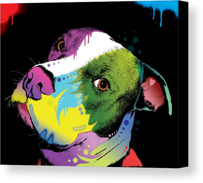 Pit Bull Canvas Print featuring the painting Dripful Pitbull by Dean Russo