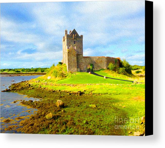 Canvas Print featuring the digital art Dunguaire Castle by Joseph Re