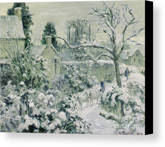 Effect Canvas Print featuring the painting Effect Of Snow With Cows At Montfoucault by Camille Pissarro