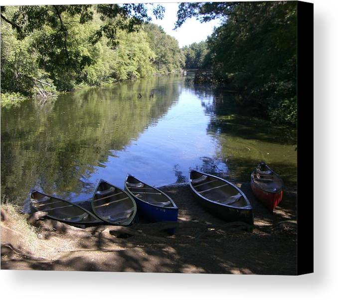 Boats Canvas Print featuring the photograph Elm Bank - Boats by Nancy Ferrier