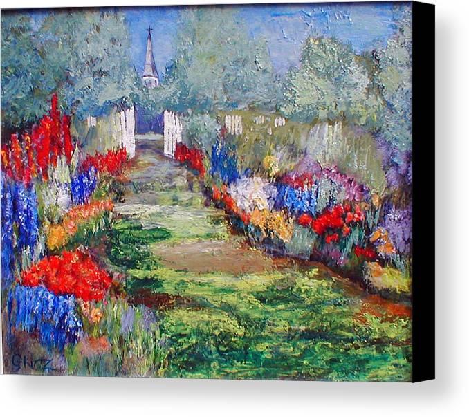 Landscape Canvas Print featuring the painting Enter His Gates by Gail Kirtz