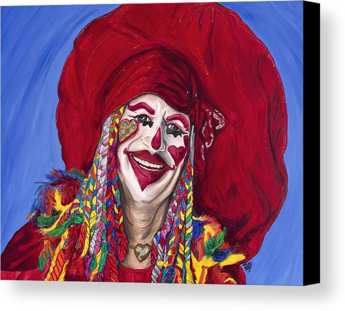Glitter Canvas Print featuring the painting Eureka Springs Clown by Patty Vicknair