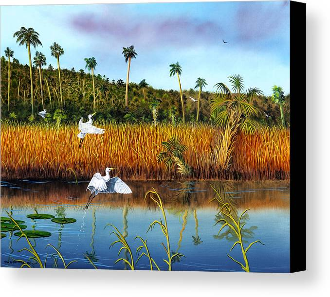 Landscape Canvas Print featuring the painting Everglades Sanctuary by Don Griffiths