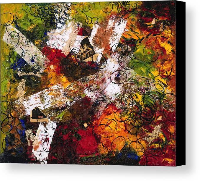 Abstract Canvas Print featuring the painting Evocation by Dominique Boutaud