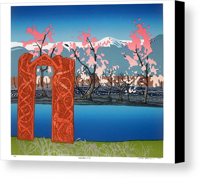 Landscape Canvas Print featuring the mixed media Exploration. by Jarle Rosseland