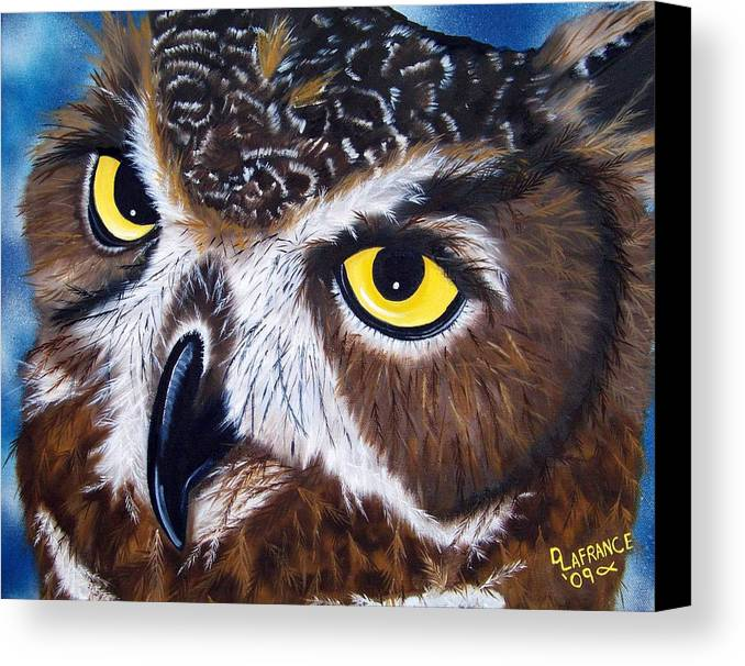 Owl Canvas Print featuring the painting Eyes Of Wisdom by Debbie LaFrance