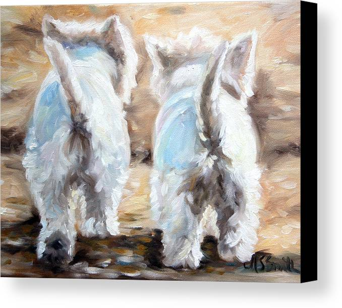 Westie Canvas Print featuring the painting Farewell by Mary Sparrow