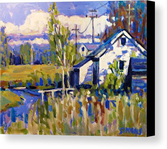 Landscape Canvas Print featuring the painting Finn Slough 2 by Brian Simons