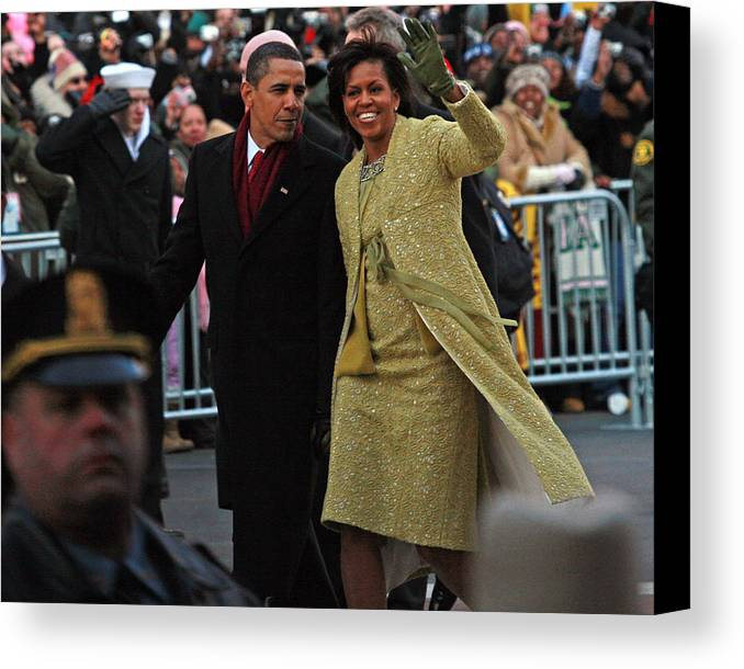 Inaugural Parade Canvas Print featuring the photograph First Couple Walking by Charlie Parker