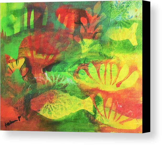 Fish Canvas Print featuring the mixed media Fish In Green by HelenaP Art