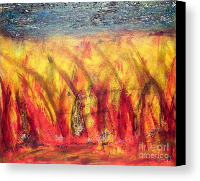 Flames Canvas Print featuring the painting Flames Inferno by Sascha Meyer