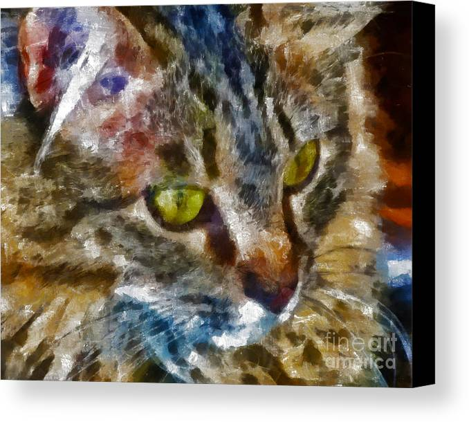Kittens Canvas Print featuring the digital art Fletcher Kitty by Marilyn Sholin