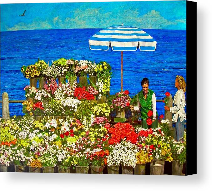 Flower Canvas Print featuring the painting Flower Vendor In Sea Point by Michael Durst