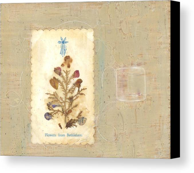 Encaustic Canvas Print featuring the mixed media Flowers From Bethlehem by Alice Kelsey