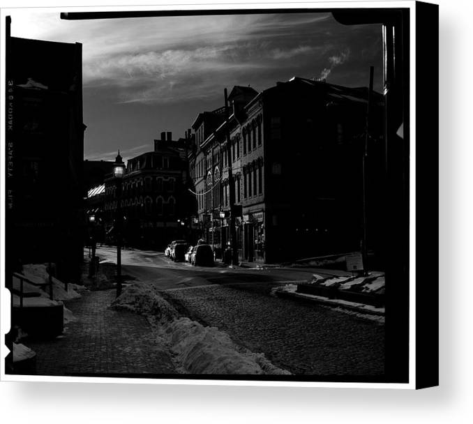 Black And White Canvas Print featuring the photograph Fore Street by Filipe N Marques