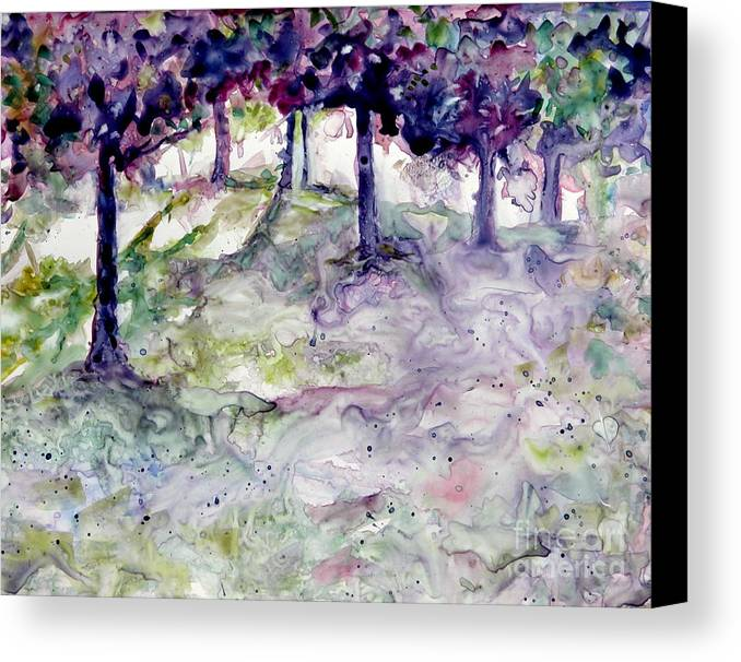 Fastasy Canvas Print featuring the painting Forest Fantasy by Jan Bennicoff
