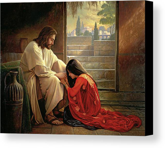 Jesus Canvas Print featuring the painting Forgiven by Greg Olsen