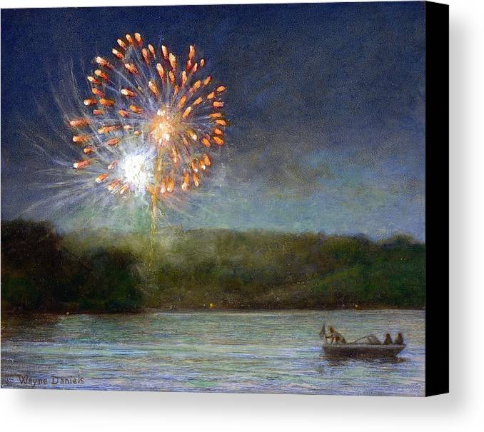 Fireworks Canvas Print featuring the painting Fourth Of July- Cazenovia Lake by Wayne Daniels