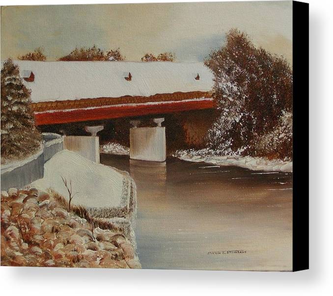 Original Oil Winter Landscape Canvas Print featuring the painting Frankenmuth Michigan by Sharon Steinhaus